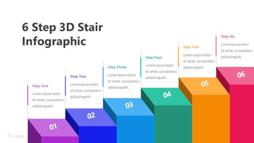 6 Step 3D Stair Infographic Template