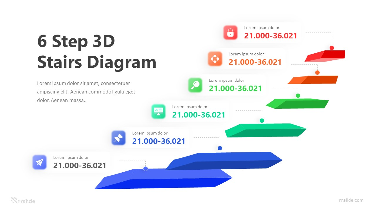 6 Step 3D Stairs Diagram Infographic Template