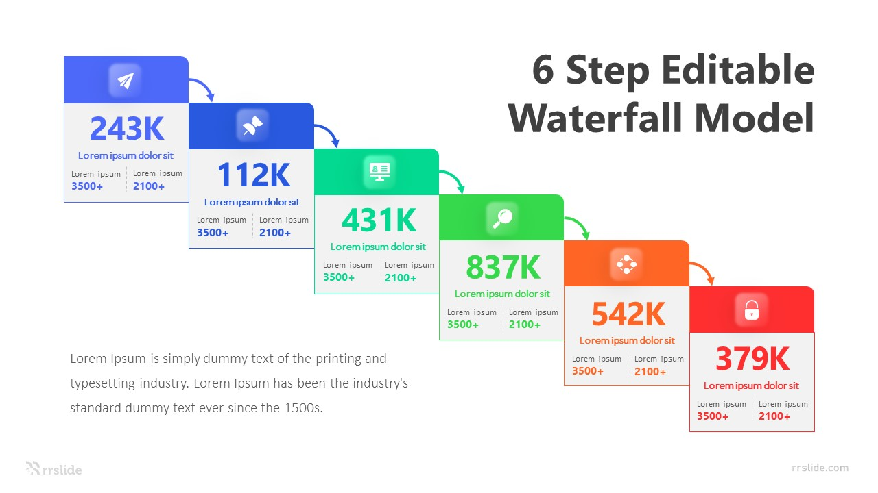 6 Step Editable Waterfall Model Infographic Template