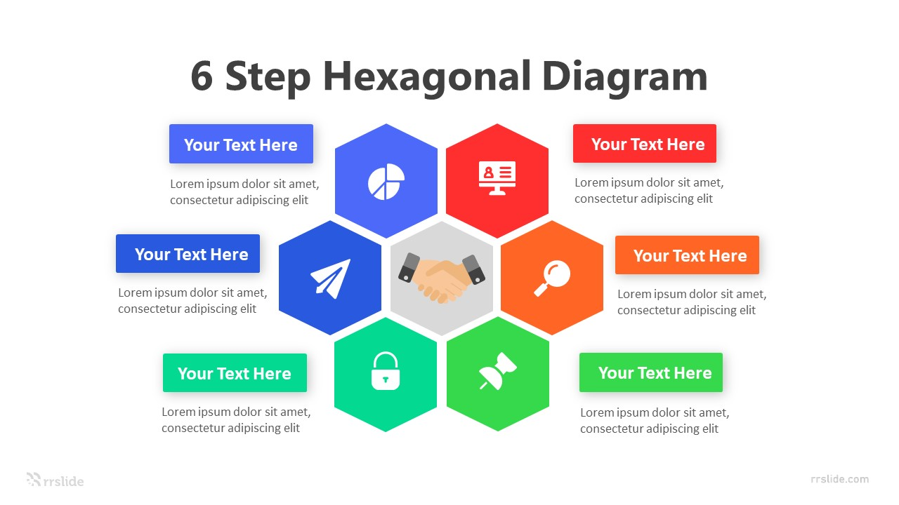 6 Step Hexagonal Diagram Infographic Template