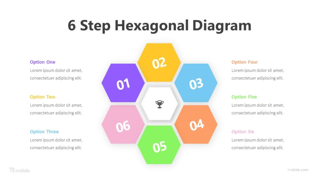 6 Step Hexagonal Diagram with Icon Infographic Template