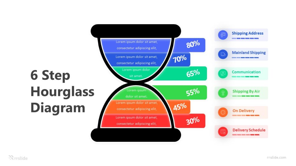 6 Step Hourglass Diagram Infographic Template