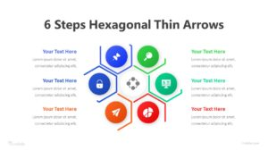 6 Steps Hexagonal Thin Arrows Infographic Template