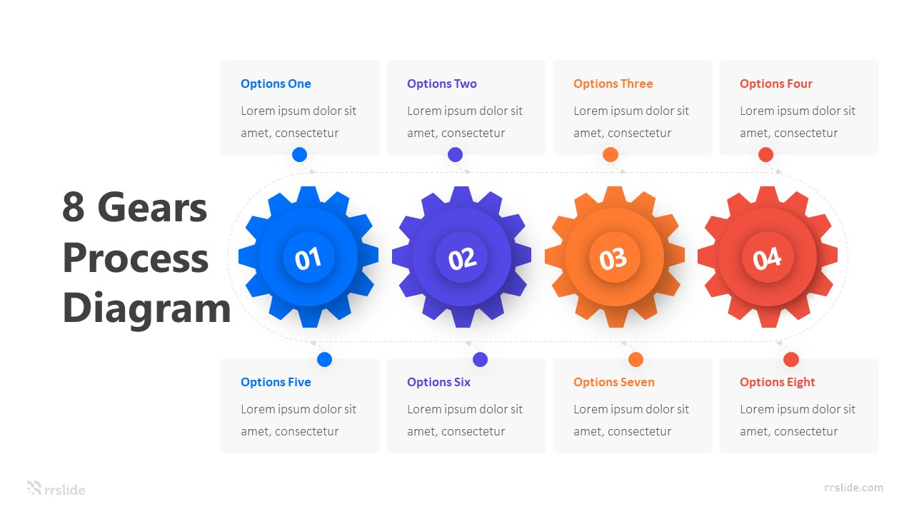 8 Gears Process Diagram Infographic Template