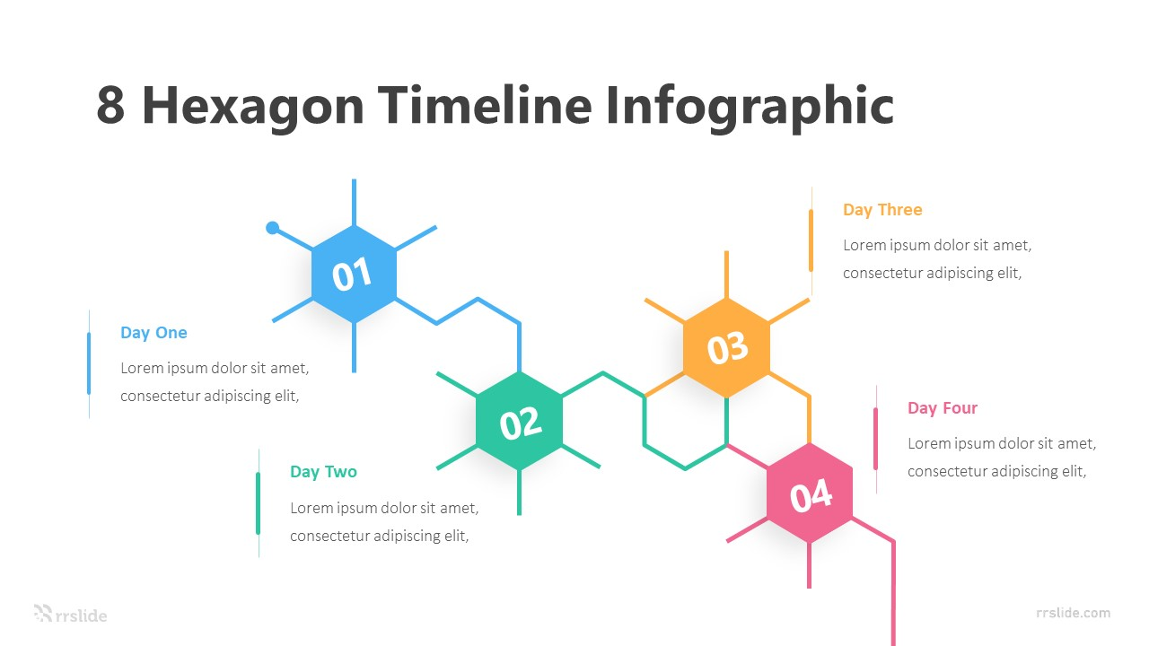 8 Hexagon Timeline Infographic Template
