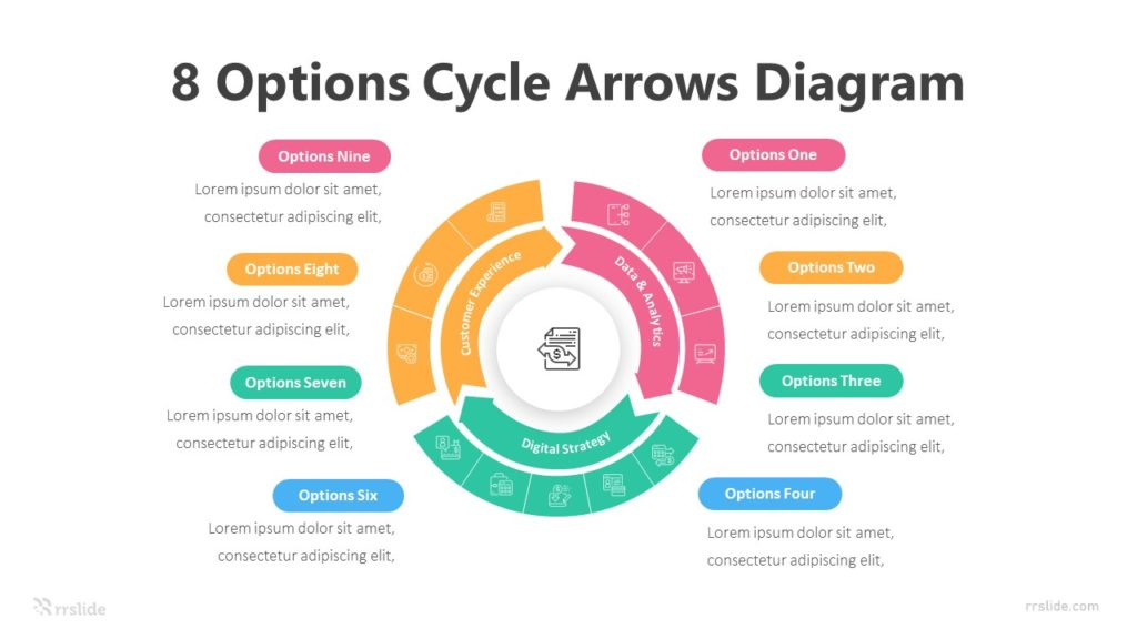 8 Options Cycle Arrows Diagram Infographic Template