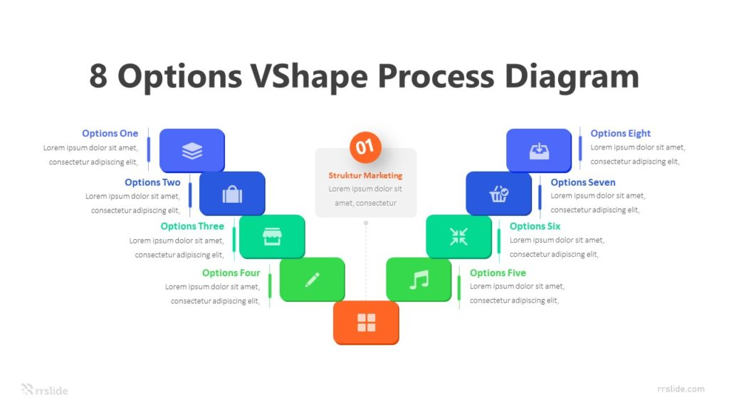 8 Options VShape Process Diagram Infographic Template