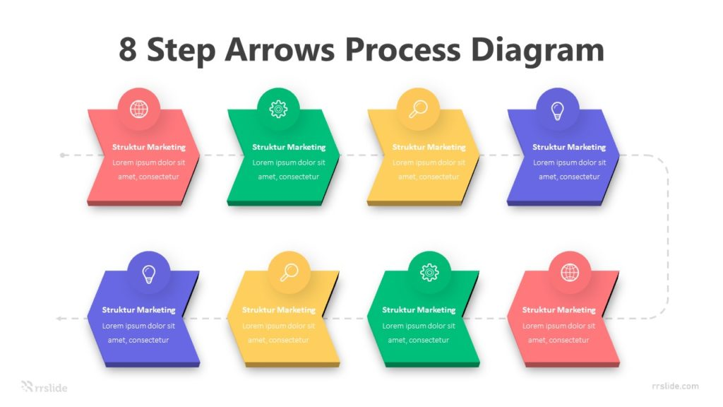 8 Stage Arrows Process Diagram Infographic Template