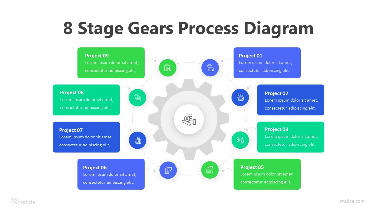 8 Stage Gears Process Diagram Infographic Template