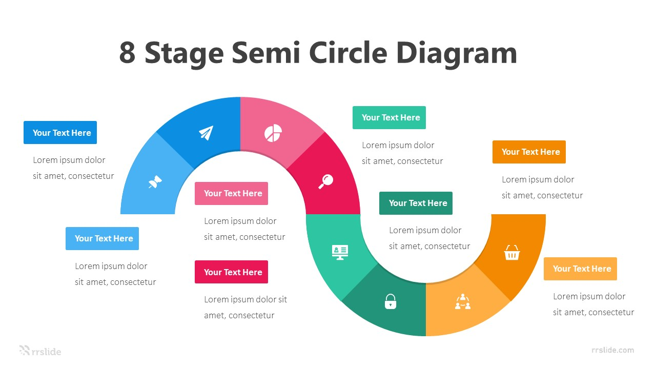 8 Stage Semi Circle Diagram Infograpic Template