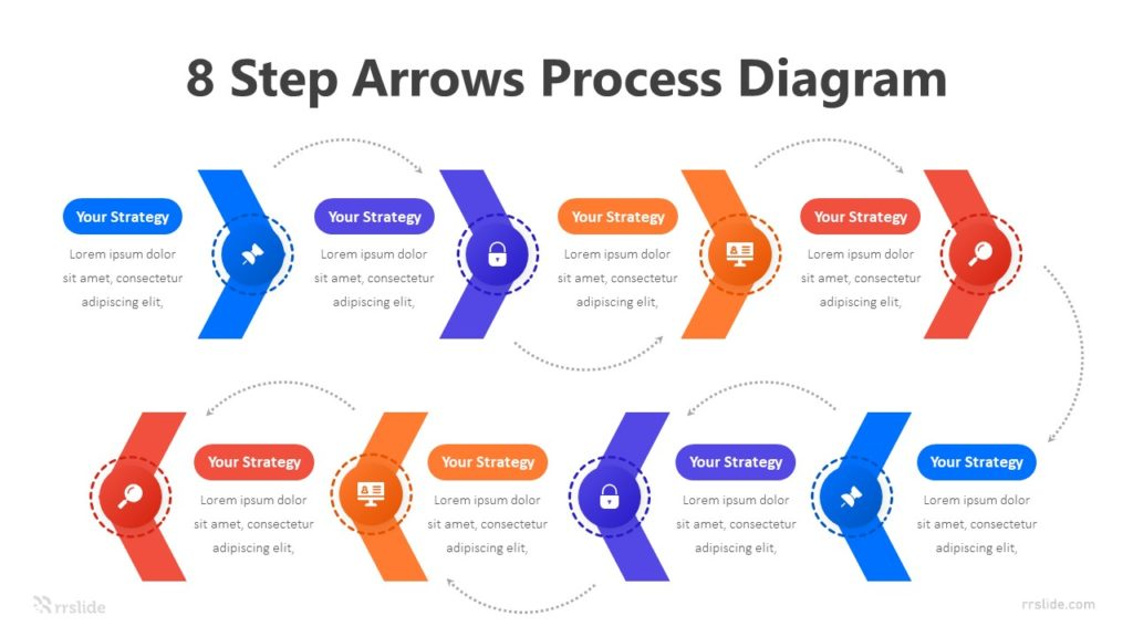 8 Step Arrows Process Diagram Infographic Template
