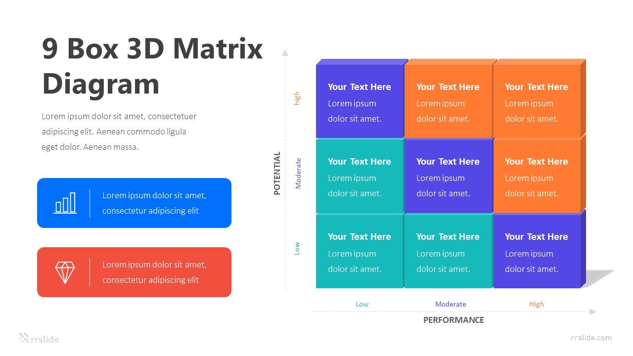 9 Box 3D Matrix Diagram Infographic Template