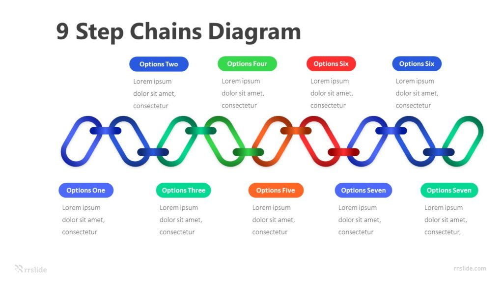 9 Step Chains Diagram Infographic Template