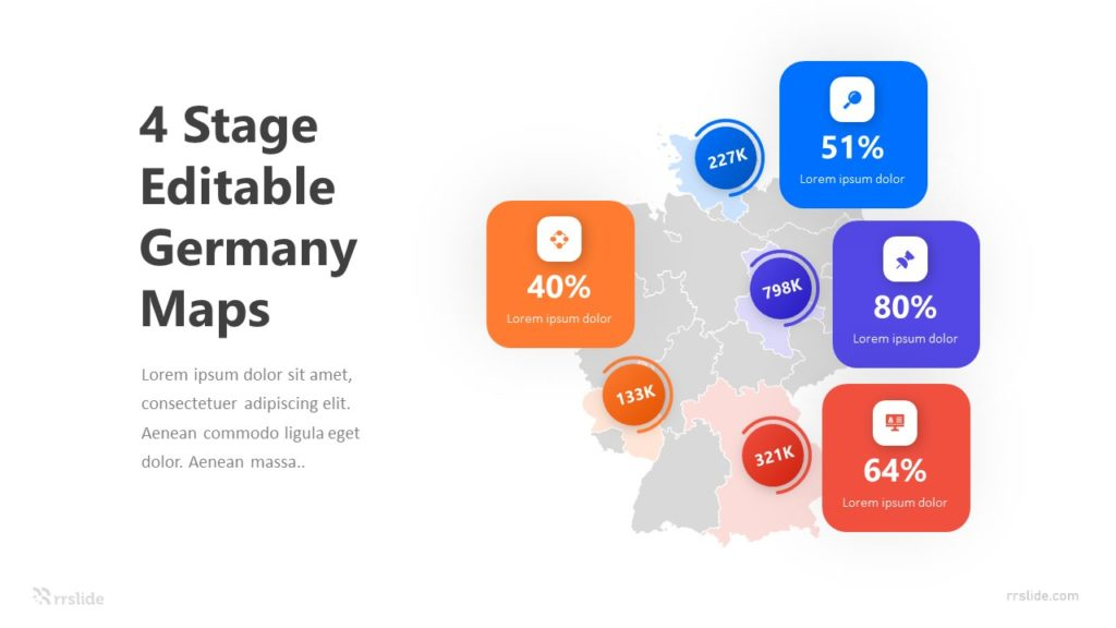 Editable Germany Maps with Percentage Infographic Template
