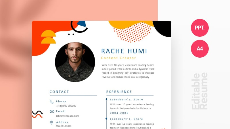 Abstract Color Full CV Template