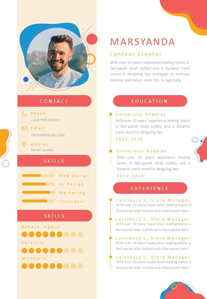Minimalist Gold Color Curriculum Vitae Template