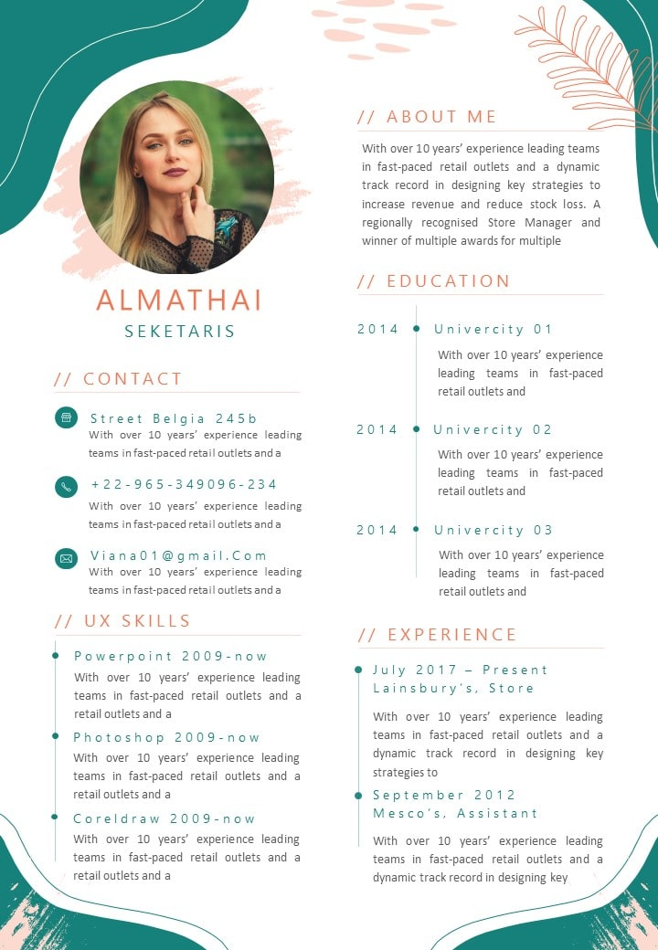 Classic Abstract Summer Curriculum Vitae Template