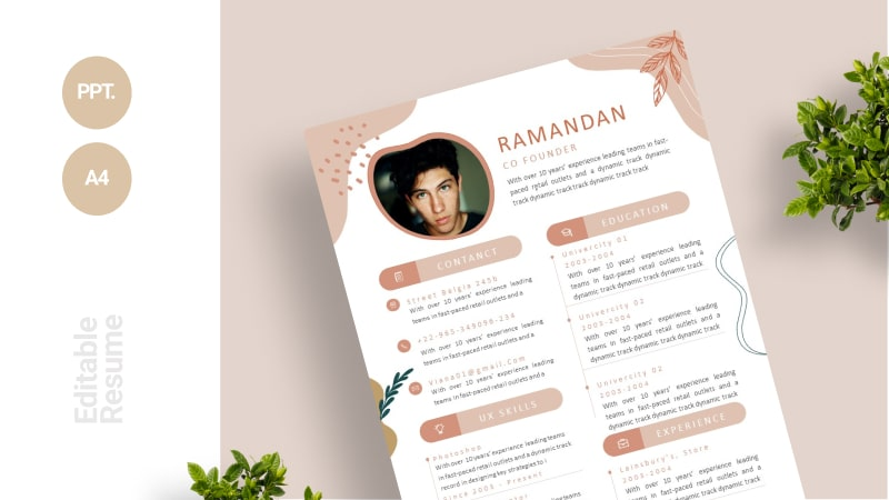 Flowers And Leaves CV Template