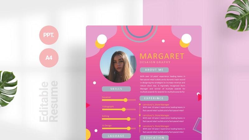 Memphis Pink CV Template