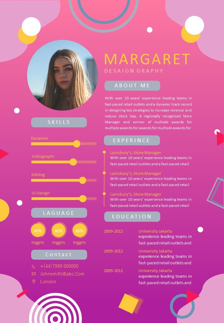 Memphis Style Pink Curriculum Vitae Template
