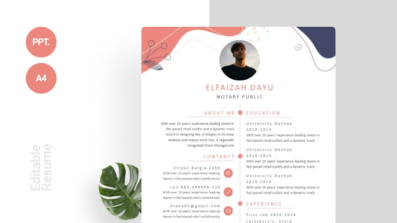 Modern Foliage CV Template