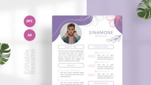 Purple Flower CV Template
