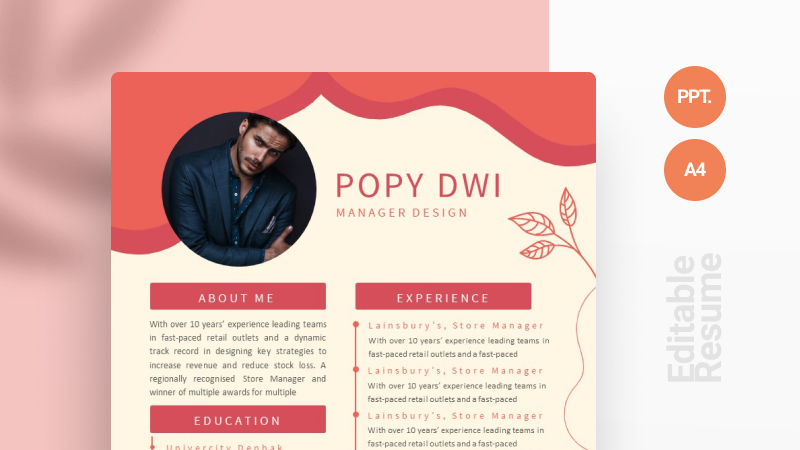 Red Tropical CV Template
