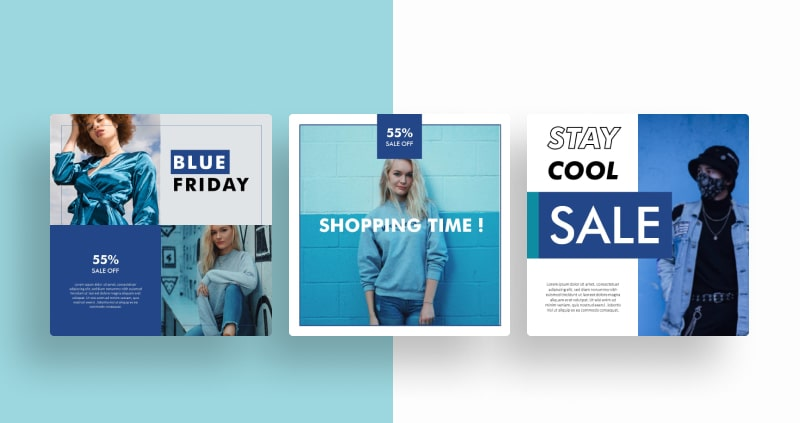 Blue Fashion Social Media Template
