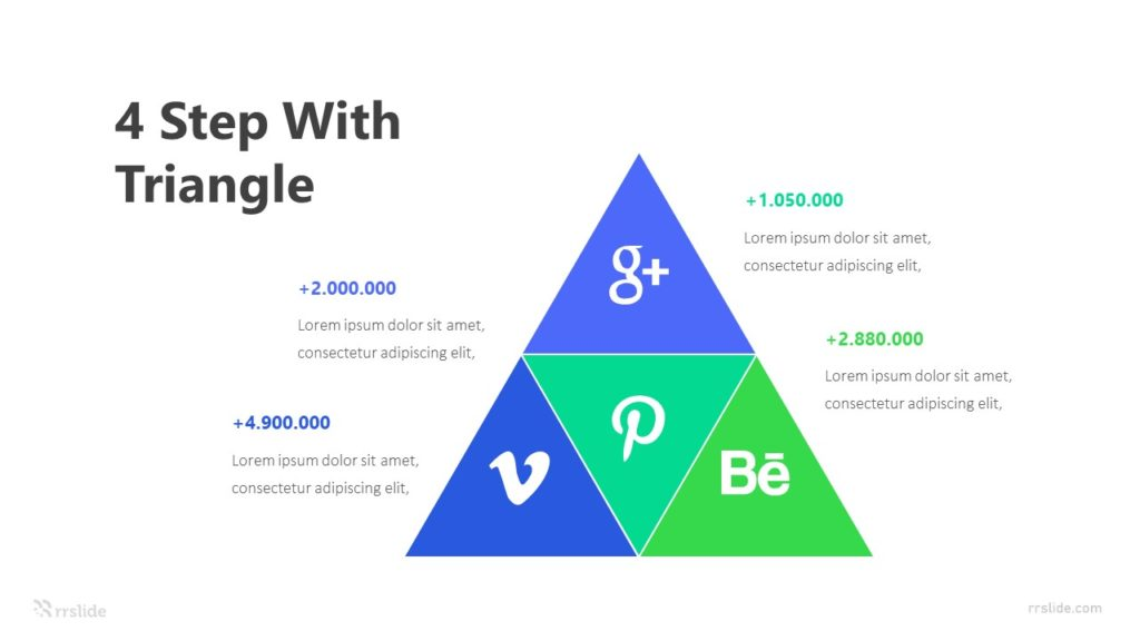 Social Media Plan Triangle Shape Infographic Template
