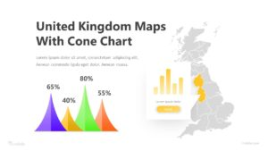 United Kingdom Maps with Cone Chart Infographic Template