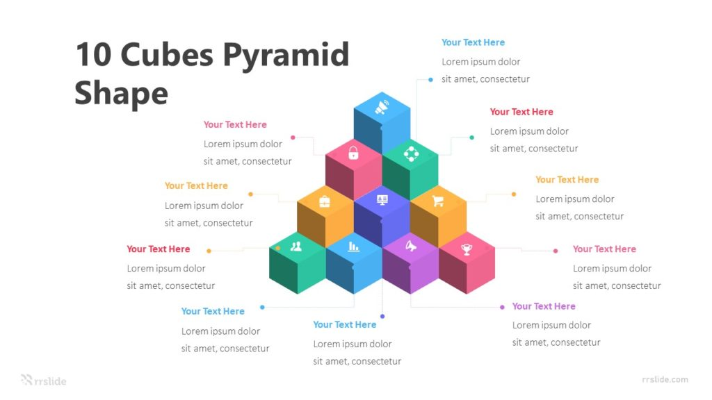 10 Cubes Pyramid Shape Infographic Template