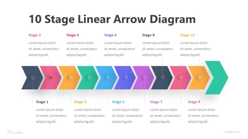 10 Stage Linear Arrow Diagram Infographic Template