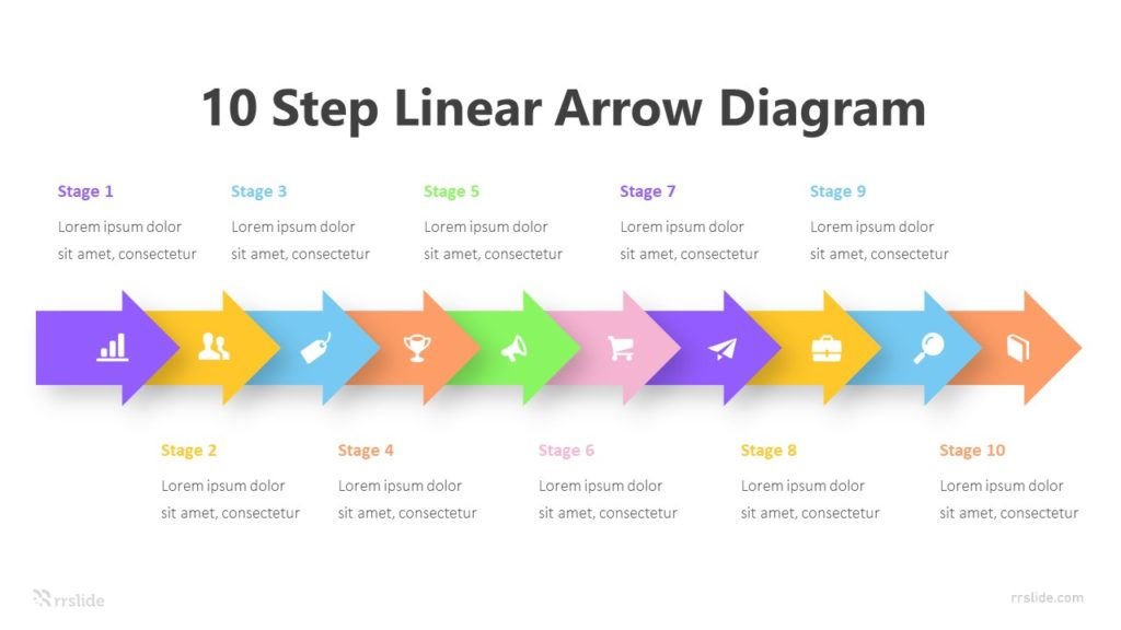 10 Step Linear Arrow Diagram Infographic Template