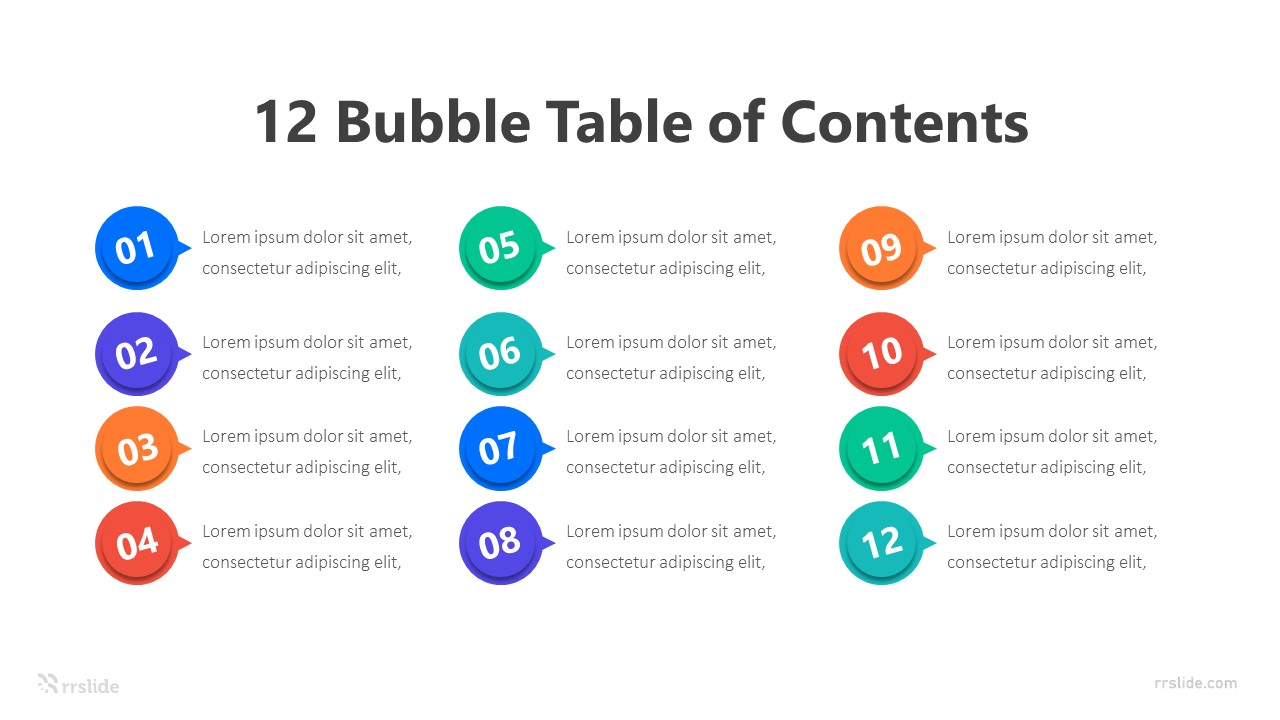 12 Bubble Table of Contents Infographic Template