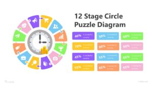 12 Stage Circle Puzzle Diagram Infographic Template