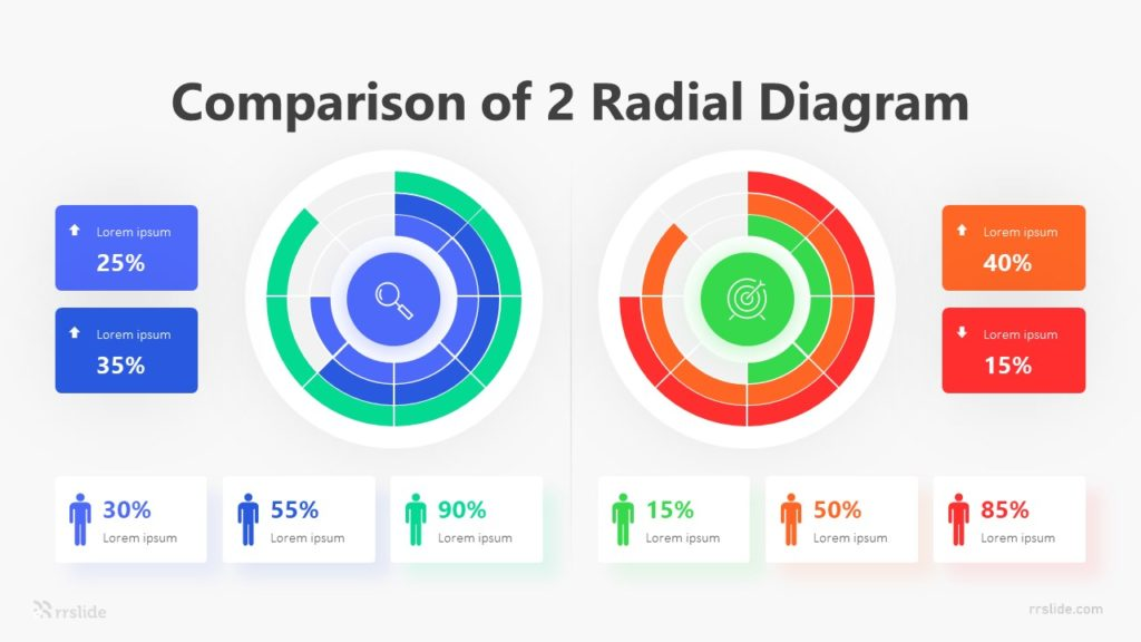 2 Comparison Of 2 Radial Diagram Infographic Template