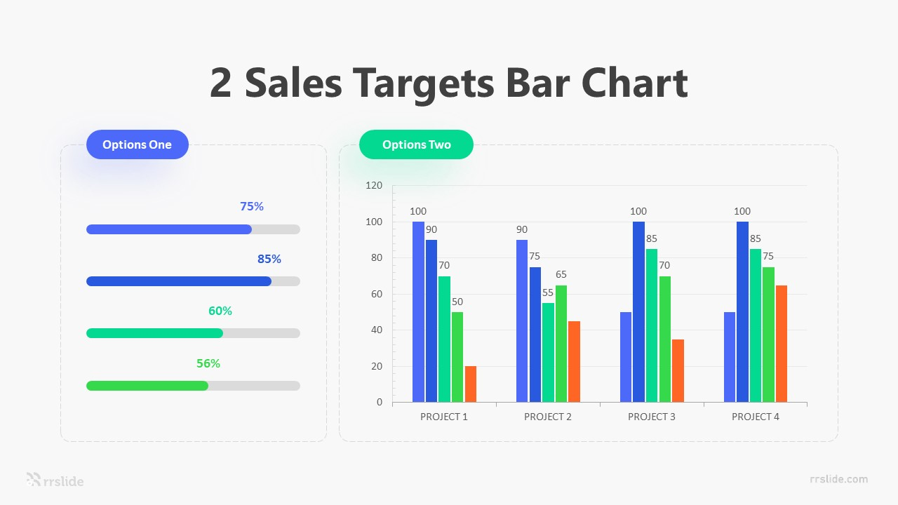 2 Sales Targets Bar Chart Infographic Template