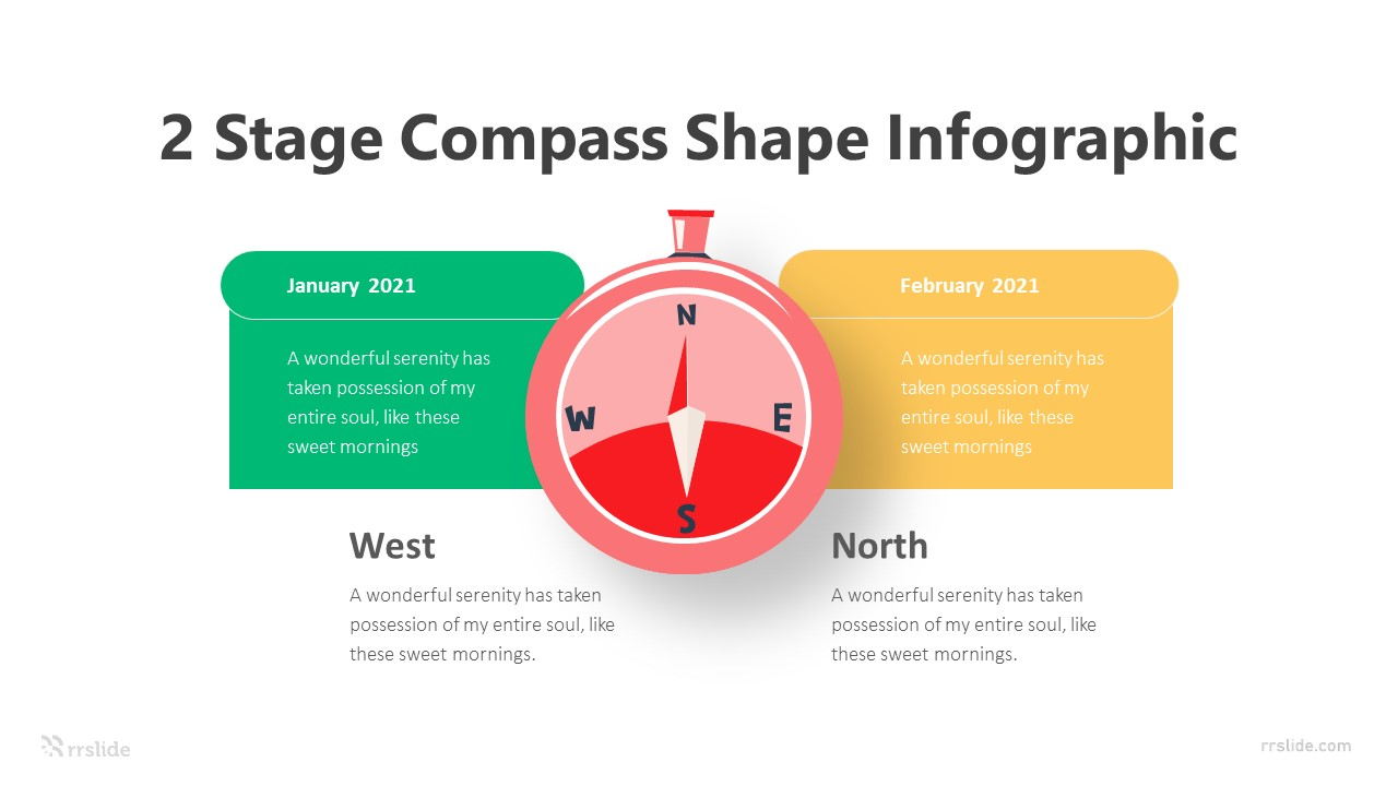 2 Stage Compass Shape Infographic Template