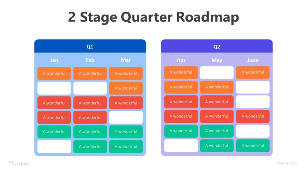 2 Stage Quarter Roadmap Infographic Template