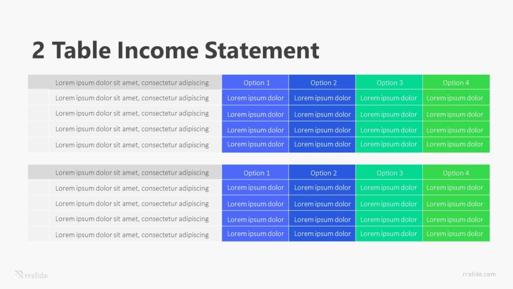 2 Table Income Statement Infographic Template