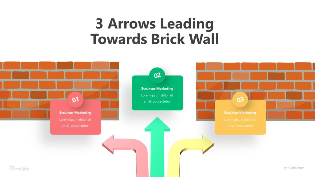 3 Arrows Leading Towards Brick Wall Infographic Template
