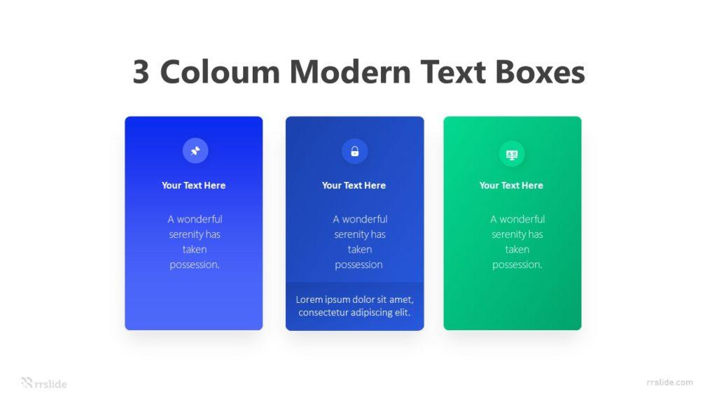 3 Coloum Modern Text Boxes Infographic Template