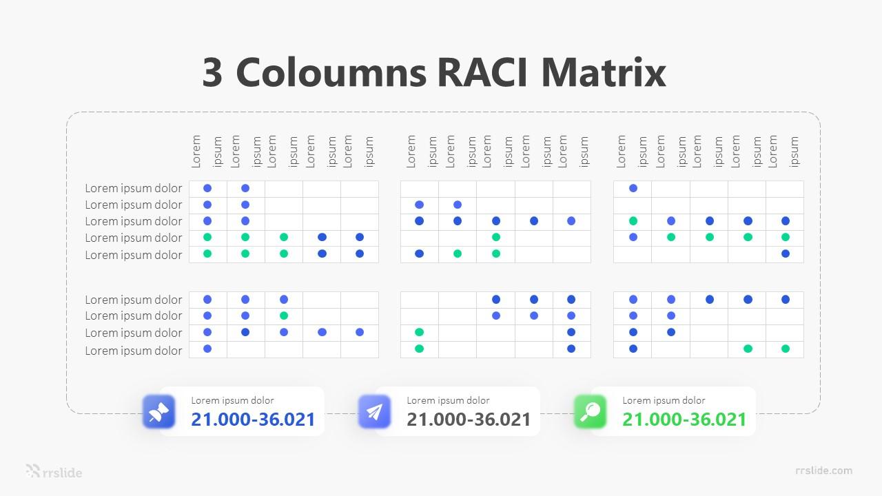 3 Coloumns RACI Matrix Infographic Template