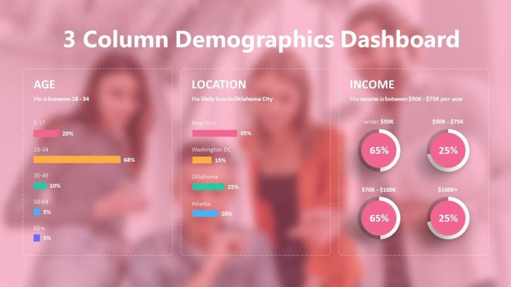 3 Column Demographics Dashboard Infographic Template
