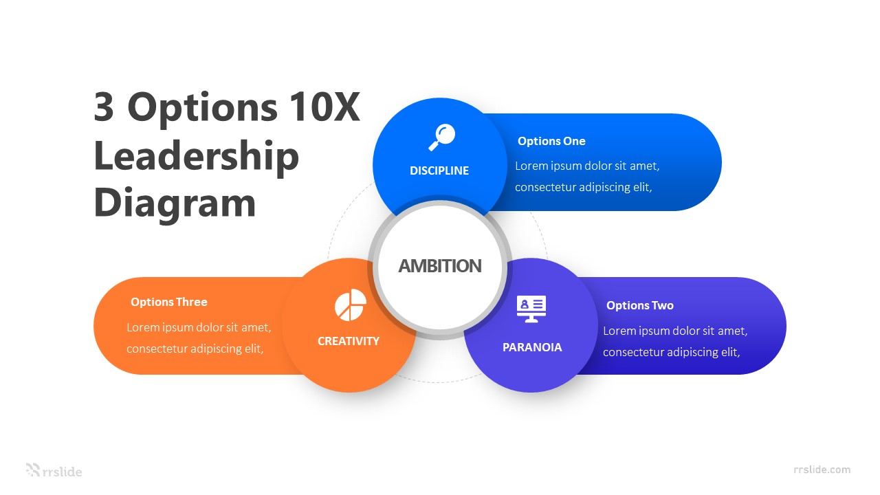 3 Options 10X Leadership Diagram Infographic Template