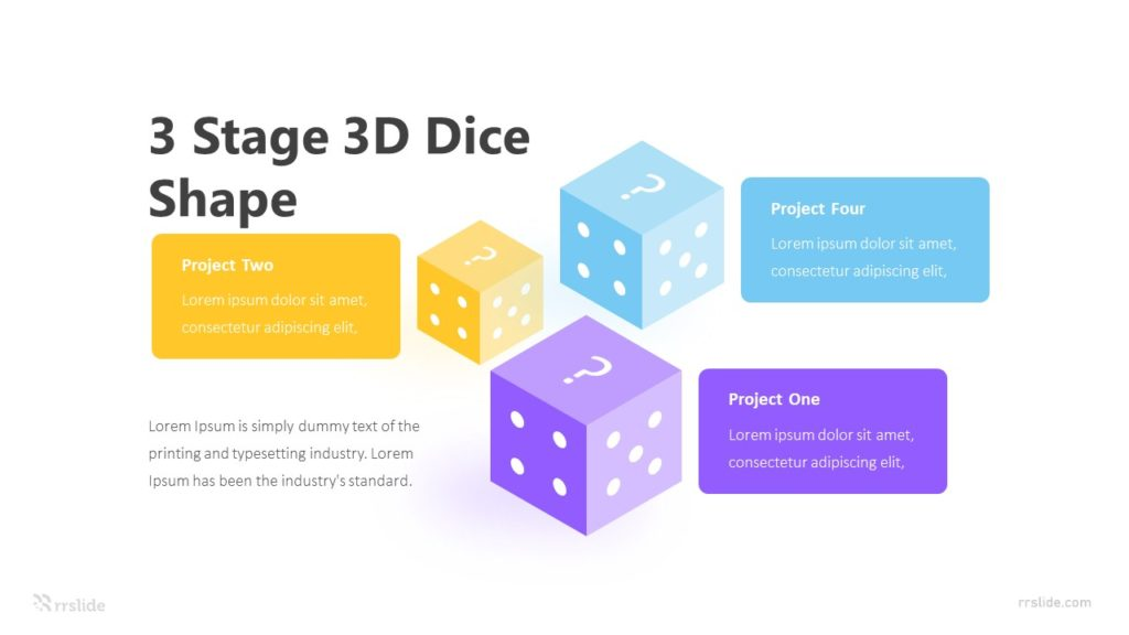 3 Stage 3D Dice Shape Infographic Template