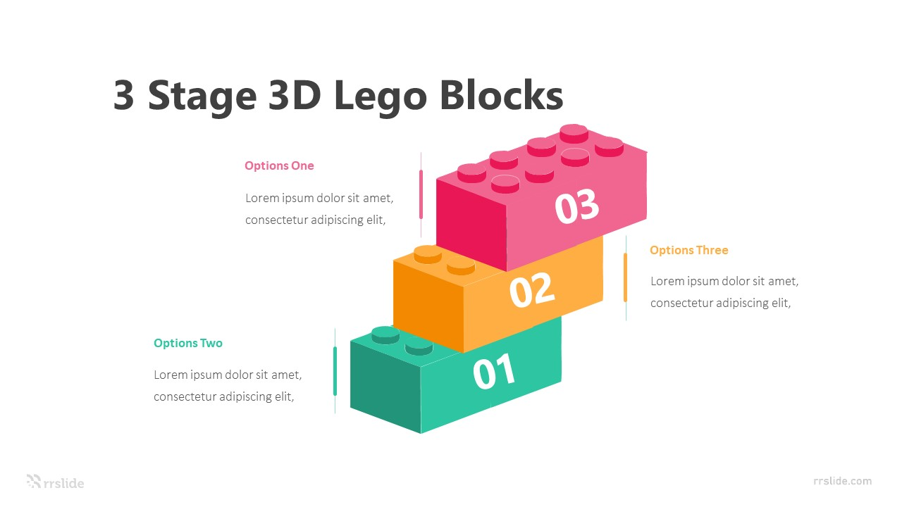 3 Stage 3D Lego Blocks Infographic Template
