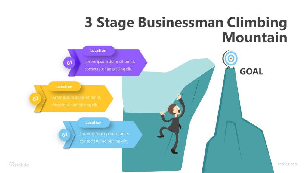 3 Stage Businessman Climbing Mountain Infographic Template
