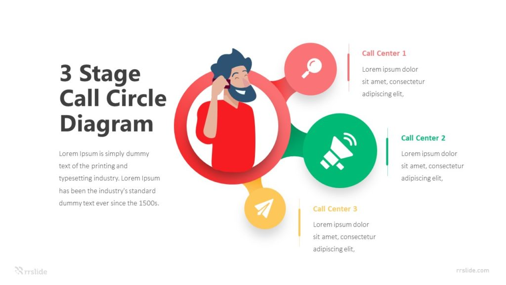 3 Stage Call Circle Diagram Infographic Template