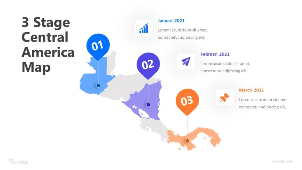 3 Stage Central America Map Infographic Template